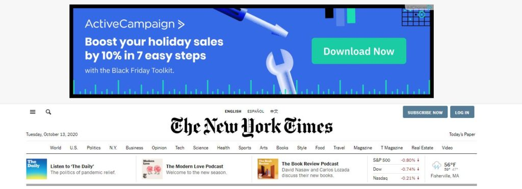 google display results on the new york times