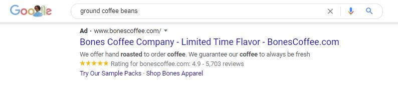 google search results advertisement for 'ground coffee beans'