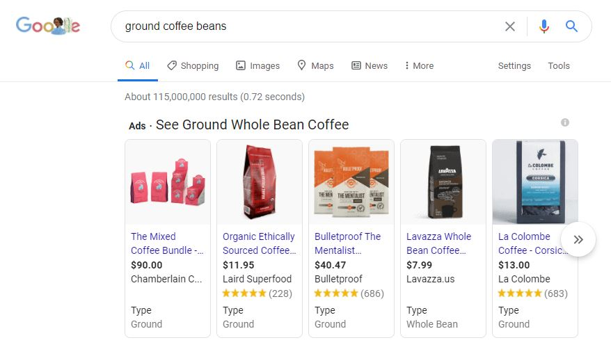 google shopping results for 'ground whole bean coffee
