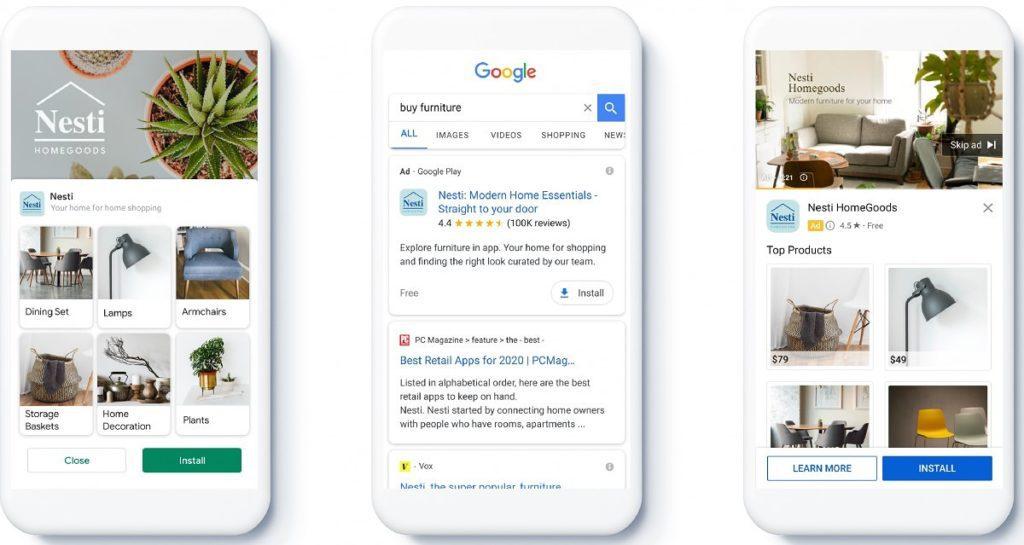 google apps advertisements for Nesti